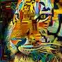 Yellow tiger - Mix-media on panel - 60 X 58 cm- Gouache/inks. Léa Roche