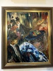 Huile sur toile signée Nadine nguyen bal à Venise.