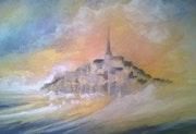 Décembre 2017 Le Mont Saint Michel dans la violence de la grande marée.