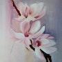 Magnolia, une branche peinture a l'huile. Yokozaza