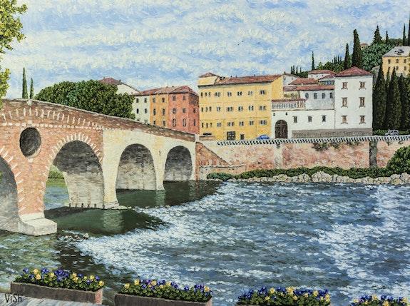 """Olld town and Ponte Pietra"" (highly detailed original painting on canvas). Vitaliy Shevelev Vitaliy Shevelev"