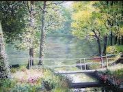 Paysage du Périgord :le petit pont de bois.