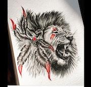Dessin lion crayon.