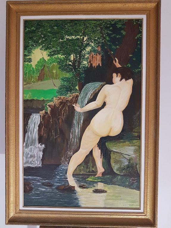Femme nue à la cascade.  Raymond Franchetti