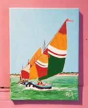 Tableau acrylique «Les voiliers». Acr.