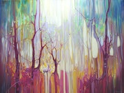 Large original Oil Painting - White Deer Realm - large colourful abstract forest.
