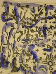 Gravure bleue marocaine. Artiste Independante
