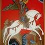 Icône Saint Georges tuant le dragon. Laetitia Will