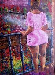 Lady Viewing The Flower Garden. Ndung'u Kinani