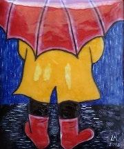 Le parapluie rouge.