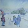 Trio de compères dans la neige. Albert Blanchet