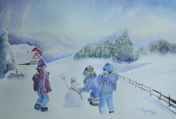 Trio de compères dans la neige. Albert Blanchet Albert Blanchet