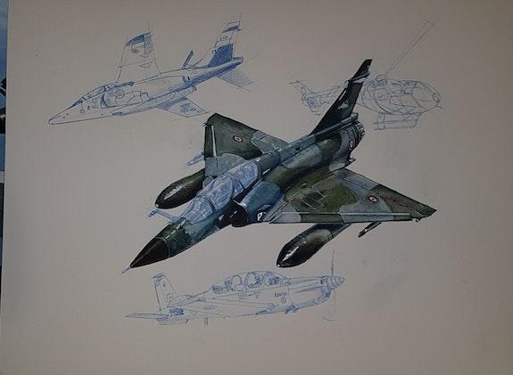 Mirage 2000n alphajet tb30 epsilon ec120. François Baldinotti Forangeart F. Baldinotti Peintre De l'air
