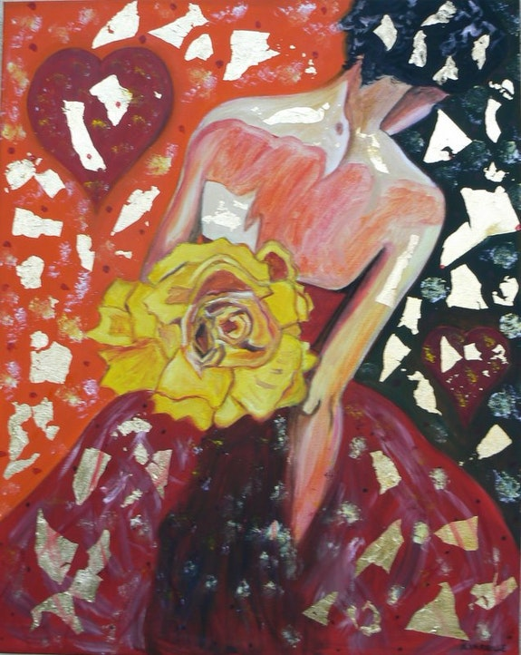 Femme a la rose jaune. Vareille Sorbac Nathalie Vareille Sorbac
