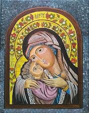Vierge a l'enfant d'après une Icône Orthodoxe..
