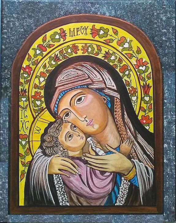 Vierge a l'enfant d'après une Icône Orthodoxe.. Farrugia Viviane Viviane Farrugia