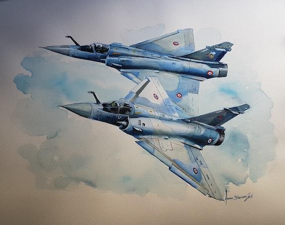 Mirage 2000c 1/12 & 2/12. François Baldinotti Forangeart F. Baldinotti Peintre De l'air
