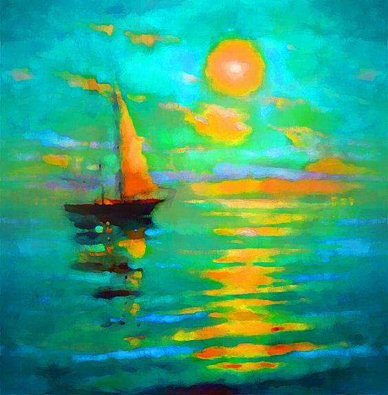 Un voilier sur la mer. Marie Carteron Marie Carteron