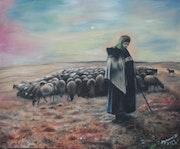 Bergère et son troupeau.