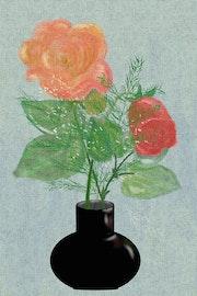 Blumenvase mit Rosen.