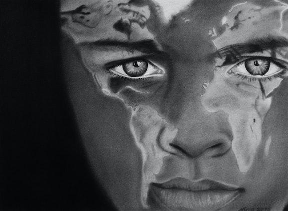 Mappemonde sur visage. Nina (Nadine Pillet) Nina