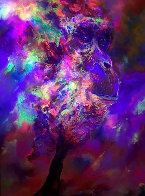 Chimpanzé 2-Lumière noire. Susanna Massa Susanna Massa