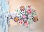 Florero con algunas rosas. Juan Carlos Gómez
