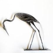 Sculpture acier brut Héron Penché n°08.