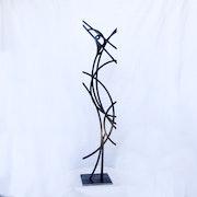 Statue acier noir Héron flamme.