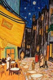 Terraza de café por la noche.. Santi Goñi