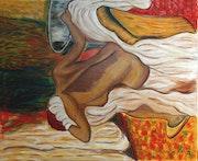 Mujer secándose después del baño..
