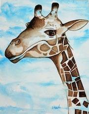 Giraphe dans le ciel. Peinturlure