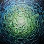 Pintura contemporánea : brillo azul verdoso iridiscente.. Jonathan Pradillon