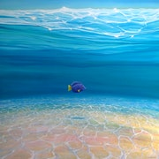 Gloriously Free Under the Sea - an underwater painting with purple tang fish.