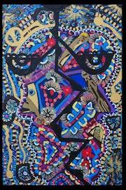Blue design Israeli woman artist acrylic painting. Mirit Ben-Nun