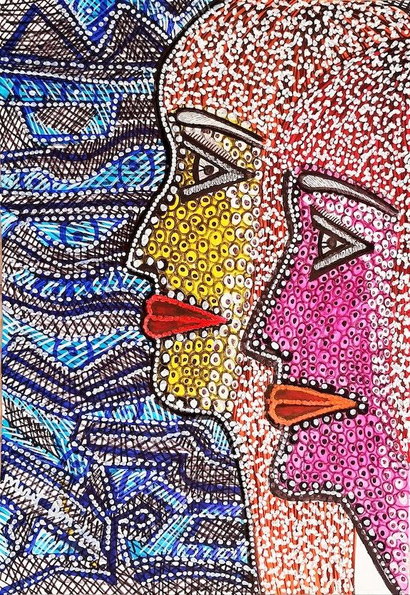 Pintora moderna dibujo de caras vende desde Israel. Mirit Ben-Nun Mirit Ben-Nun