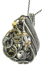 Two-Toned Steampunk Pendant Wire-Wrapped in Sterling Silver with Brass Gears. Heather Jordan Jewelry