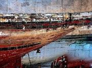Les barques au soleil couchant. Allal Sahbi Bouchikhi