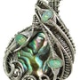 Abalone Pua Shell Wire-Wrapped Pendant in Sterling Silver with Ethiopian Welo Op. Heather Jordan Jewelry