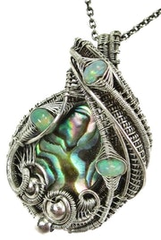 Abalone Pua Shell Wire-Wrapped Pendant in Sterling Silver with Ethiopian Welo Op.
