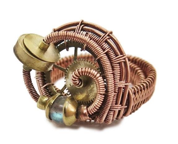 Copper Adjustable Steampunk Ring with Custom Gemstone. Heather Jordan Heather Jordan Jewelry