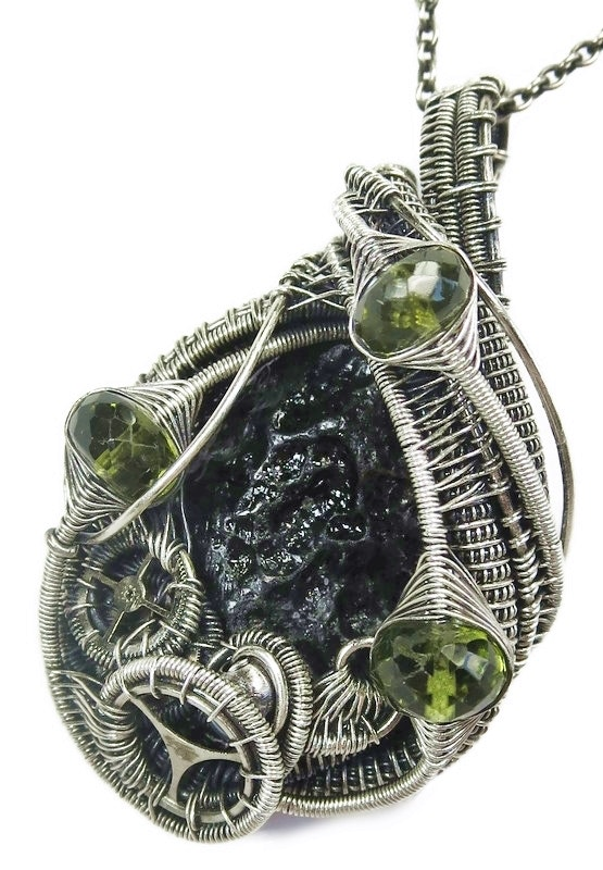 Black Tektite Wire-Wrapped Steampunk Pendant in Sterling Silver with Peridot. Heather Jordan Heather Jordan Jewelry