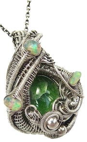 Chrome Diopside Wire-Wrapped Pendant in Sterling Silver with Ethiopian Welo Opal.