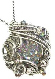 Sunshine Titanium Quartz Druzy Wire-Wrapped Steampunk Pendant in Sterling Silver.