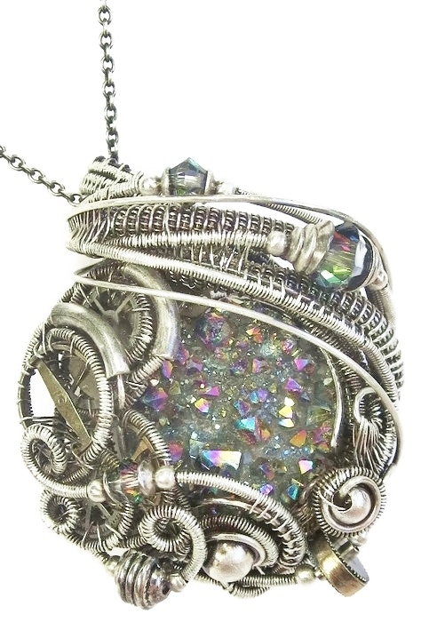 Sunshine Titanium Quartz Druzy Wire-Wrapped Steampunk Pendant in Sterling Silver. Heather Jordan Heather Jordan Jewelry