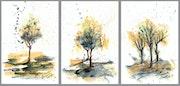 Arbres d'automne colorés - aquarelle et encre sur papier.