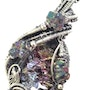 Bismuth Crystal Wire-Wrapped Pendant in Sterling Silver with Titanium Quartz. Heather Jordan Jewelry