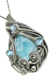 Larimar & Rainbow Moonstone Wire-Wrapped Pendant in Sterling Silver.
