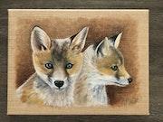 Les renardeaux. Pastel & Peinture Moser