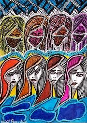 Woman painter modern artist drawings on paper. Mirit Ben-Nun